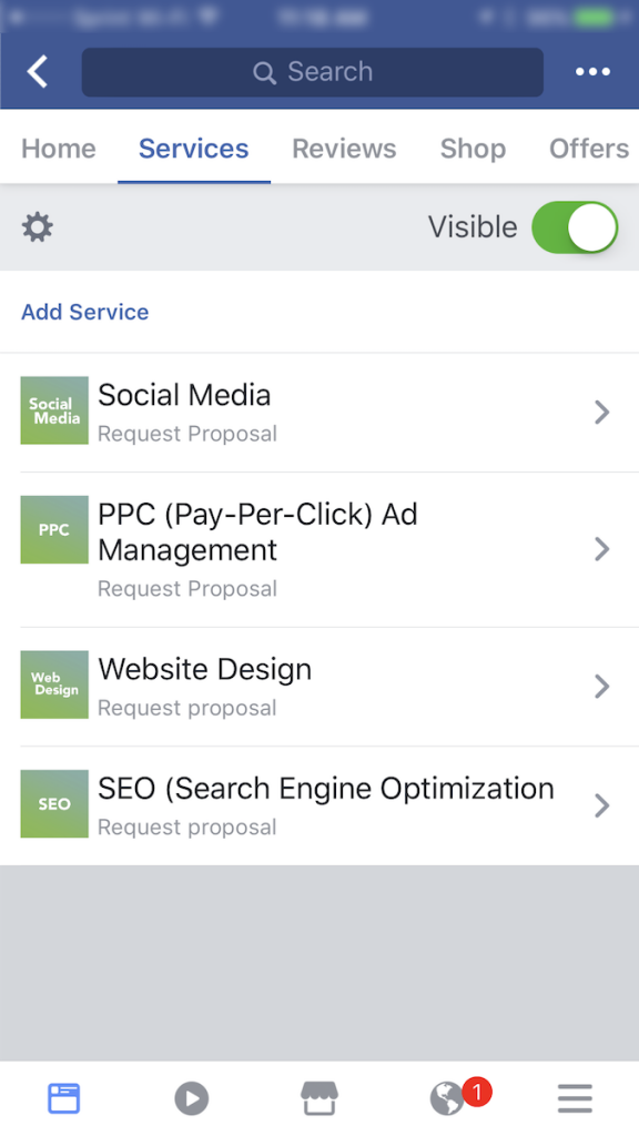 Here's a look at what our Professional Services Template Services section looks like.